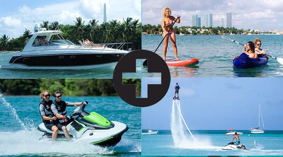 yacht with watersports