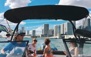 Experience Miami views from a nice boat with family and friends.